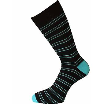 HJ Hall Cotton Stripe Pattern Socks HJ272 6-11 Black-Turq