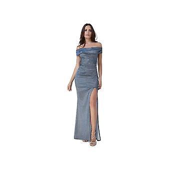 Goddiva Off-Shoulder Winterblue Side Slit Maxi Dress