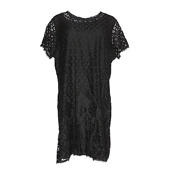 Isaac Mizrahi Live! Kleid Stretch Lace Short Sleeve Schwarz A288082