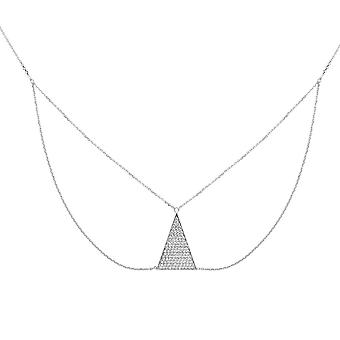 925 Sterling Silver Rhodium Plated Adjustable Cubic Zirconia Triangle Bib Necklace 18 Inch Jewelry Gifts for Women