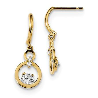 8.2mm 14k Madi K CZ Cubic Zirconia Simulated Diamond Two Circle Dangle Post Earrings Jewelry Gifts for Women