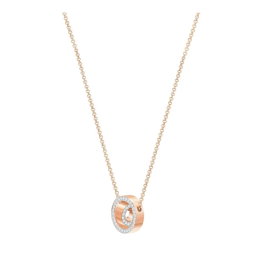 Swarovski Hollow Rose Gold Tone Plated & Clear Crystal Round Necklace 5289495