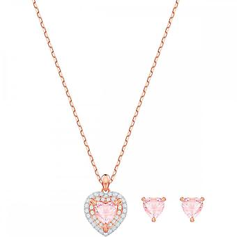 Swarovski One Rose Gold Tone Plated With Pink & Clear Crystal Necklace & Earring Set 5470897