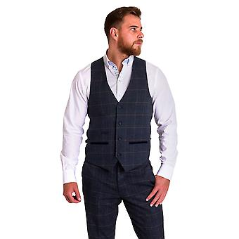 Marc Darcy Scott Blue Check Tweed Vest met Fluwelen Contrast