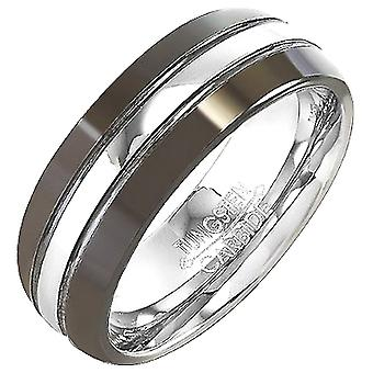 Dazzlingrock Collection Tungsten Carbide Unisex Ring Wedding Band 8MM (5/16 inch) Black High Polished Center Comfort Fit