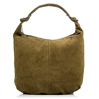 FIRENZE ARTEGIANI Real Leather Women's Bag. Women's bag leather genuine suede. Soft touch. Shopper bag. Women's shoulder bag Made in ITALY. REAL ITALIAN PELLE 37x35x10 cm. Color: GREEN