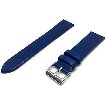 Calf leather watch strap blue extra long with silver buckle size 12mm to 30mm