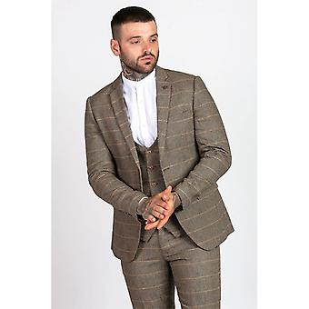 Marc Darcy TED Heritage Tweed Check Blazer - Tan