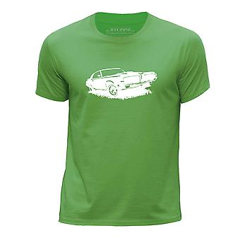 STUFF4 Boy's Round Neck T-Shirt/Stencil Car Art/Cougar Eliminator/Green
