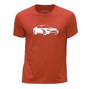STUFF4 Boy's Round Neck T-Shirt/Stencil Car Art / V12 Vantage/Orange
