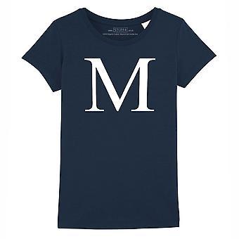 STUFF4 Girl's Round Neck T-Shirt/Alphabet Letter Initial M/Navy Blue
