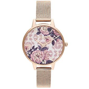 Olivia Burton Watches Ob16lp01 Wild Flower Pale Rose Gold Mesh Ladies Watch