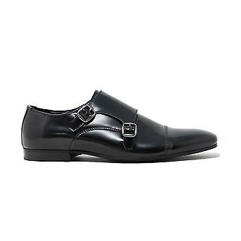 Walk london luca monk strap shoes in black leather