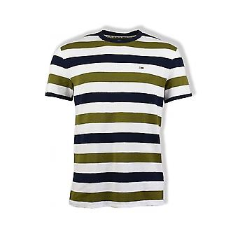Tommy Jeans Seasonal Stripe T-Shirt (Uniform Olive/White)