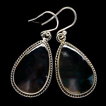 """Green Moss Agate Earrings 1 1/2"""" (925 Sterling Silver)  - Handmade Boho Vintage Jewelry EARR397916"""