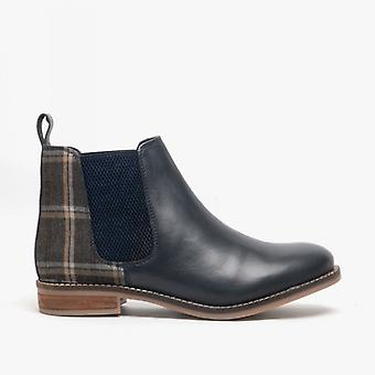Cipriata Zoe Ladies Leather/tweed Ankle Boots Navy
