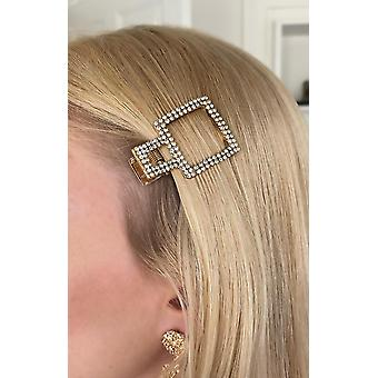 Trendy hair clip in the form of square dressed with rhinestones that gleam