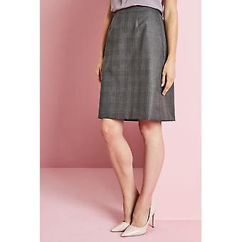 SIMON JERSEY Alderley A-line Skirt, Grey Check