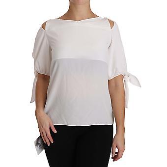 Dolce & Gabbana Solid White Silk Off Shoulder Blus Topp