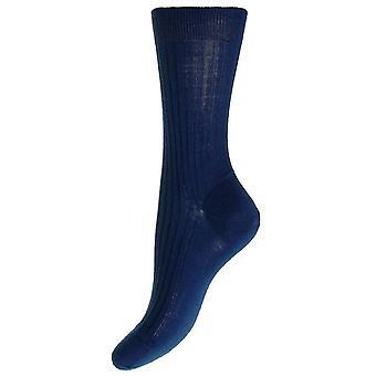 Pantherella Rose Rib Merino wollen sokken - donkerblauw