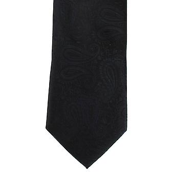 Michelsons of London Tonal Paisley Polyester Tie - Black