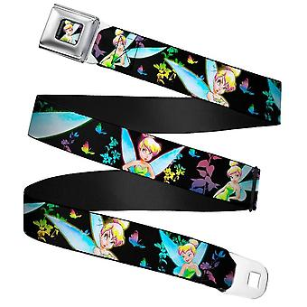 Disney Glowing Tinker Bell Pose Webbing Seatbelt Buckle Belt