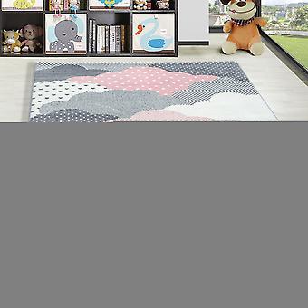 Children's Rug ShortFlor Soft Clouds Wolken Kinderkamer Baby Room Grijs Roze