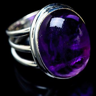 Amethyst Ring Size 7.5 (925 Sterling Silver)  - Handmade Boho Vintage Jewelry RING5578