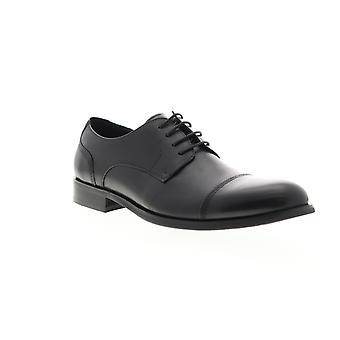 Zanzara Gauguin  Mens Black Leather Dress Lace Up Oxfords Shoes
