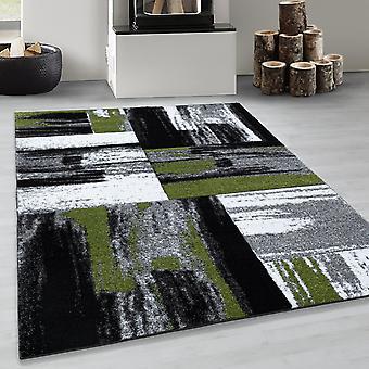 Designer Rug Modern Plaid Design Abstract Patroon in Green Black Grey