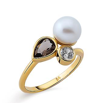 Orphelia Silver 925 Ring with Smokey Quartz & Fresh water Pearl  Gold plated