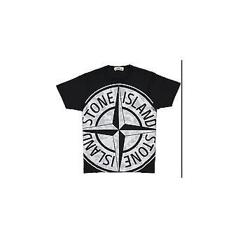 Camiseta preta impressa de algodão de Stone Island
