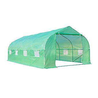 Outsunny Walk in Polytunnel Greenhouse with Windows and Door for Garden, Backyard (6x3x2 M)