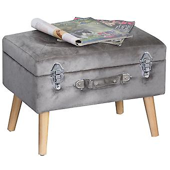 HOMCOM Velvet-Touch Suitcase Storage Stool Ottoman Suitcase w/ 2 Latches Wood Legs Foot Pads Home Bedroom Elegant Unique Storage Grey