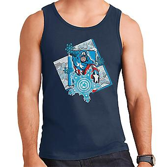 Marvel Christmas Captain America Comic Panel Snowflakes Men's Vest