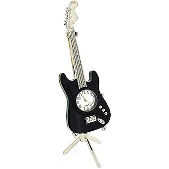 The Emporium Miniature Black Guitar Ornamental Novelty Collectors Clock on Stand 0354