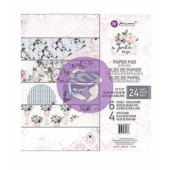 Prima Markkinointi Runollinen Ruusu 12x12 Tuuman Paperityyny