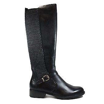 Tamaris 25511 עור כהה / טקסטיל נשים מגפי רגליים ארוכות