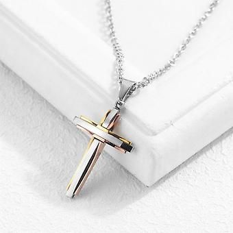 Men And Women Necklace, Titanium Steel Cross Pendant Christian