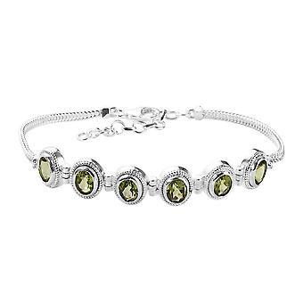 Peridot Vänskap armband för kvinnor Sterling Silver Storlek 7