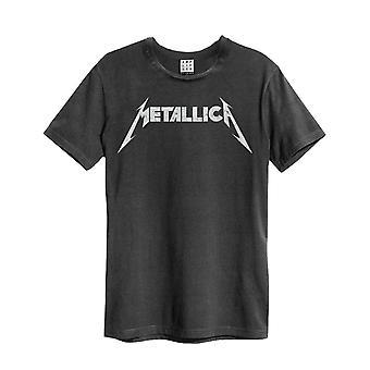 Metallica T Shirt Spiked Band Logo nieuwe Officiële Mens Amplified Vintage Houtskool