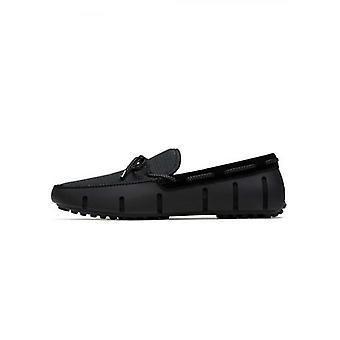 Zwemt zwart en grijs gevlochten kant loafer