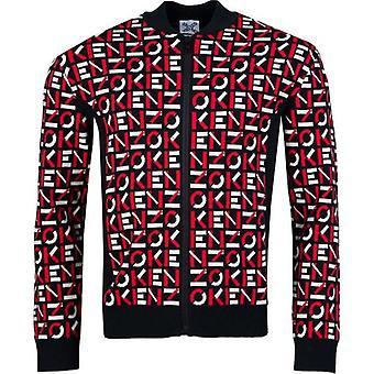 Kenzo All Over Logo zip attraverso maglia