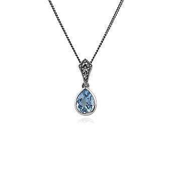 ארט דקו סגנון אובלי אגס כחול טופז & Marcasite שרשראות תליון ב 925 כסף סטרלינג 214N515603925