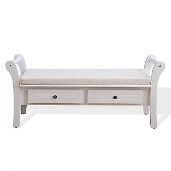 Rebecca Furniture Bench White Bench 2 Classic Style Laden 47.5x108.5x40