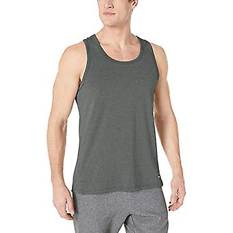 Essentials Men's Performance Cotton Tank Top Shirt, Dark Green, X-Small