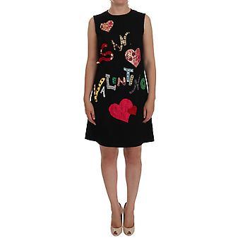 Dolce & Gabbana Fekete San Valentino Crystal Shift ruha DR1040-3