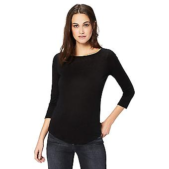 Daily Ritual Women's 100% Linen 1/2-Sleeve Boat Neck T-Shirt, Black, X-Large