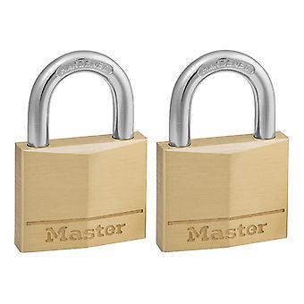 Master Lock Solid Brass 40mm Padlock 4-Pin - Keyed Alike x 2 MLK140T