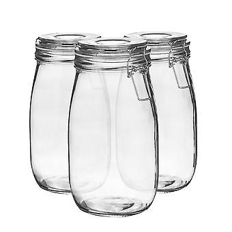 Argon Geschirr Glas Aufbewahrung Gläser mit luftdichten Clip Deckel - 1,5L Set - weißes Siegel - Packung mit 3